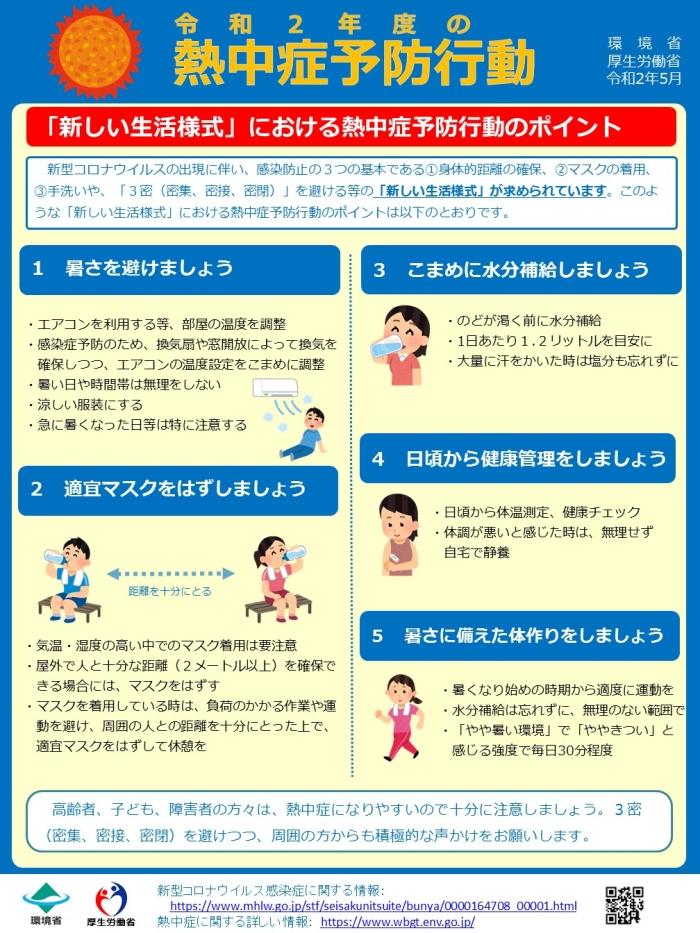 「新しい生活様式」における熱中症予防行動のポイント