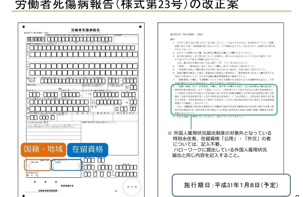 「労働者死傷病報告」に外国人の国籍・地域及び在留資格を記入する欄が設けられます